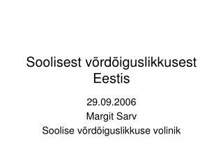 Soolisest võrdõiguslikkusest Eestis