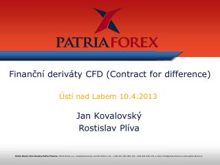 Finanční deriváty CFD (Contract for difference)