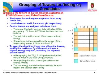 Grouping of Towers for finding e/   Candidates