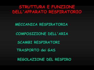 STRUTTURA E FUNZIONE DELL'APPARATO RESPIRATORIO