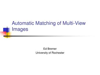 Automatic Matching of Multi-View Images