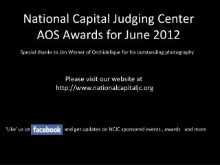 National Capital Judging Center AOS Awards for June 2012
