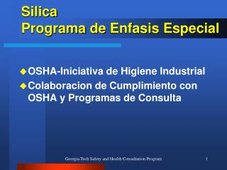 Silica Programa  de  Enfasis  Especial