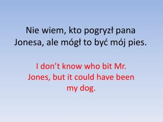 Nie wiem, kto pogryzł pana Jonesa, ale mógł to być mój pies.