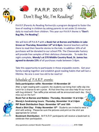 P.A.R.P.  2013 Don't Bug Me, I'm Reading!