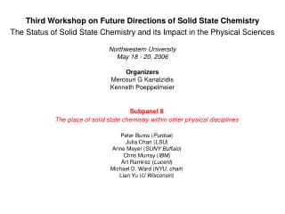 Third Workshop on Future Directions of Solid State Chemistry The Status of Solid State Chemistry and its Impact in the P