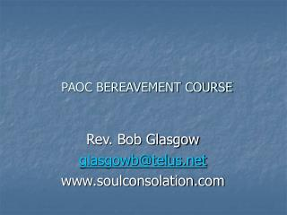 PAOC BEREAVEMENT COURSE