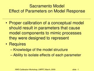 Sacramento Model Effect of Parameters on Model Response