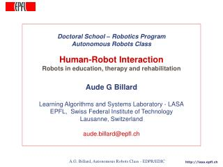 Doctoral School – Robotics Program Autonomous Robots Class Human-Robot Interaction