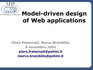 Model-driven design of Web applications