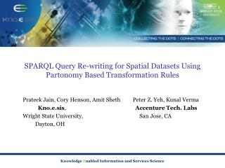 SPARQL Query Re-writing for Spatial Datasets Using Partonomy Based Transformation Rules