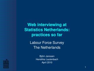 Web interviewing at  Statistics Netherlands:  practices so far