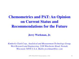 Chemometrics Defined...