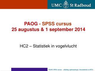 HC2 – Statistiek in vogelvlucht