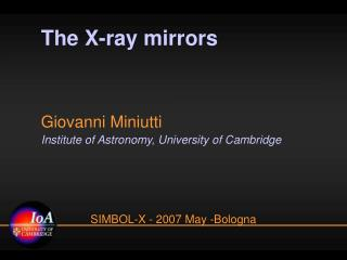 The X-ray mirrors