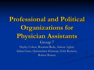 Professional and Political Organizations for Physician Assistants