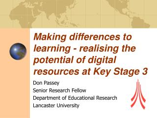 Making differences to learning - realising the potential of digital resources at Key Stage 3