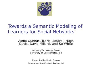 Towards a Semantic Modeling of Learners for Social Networks