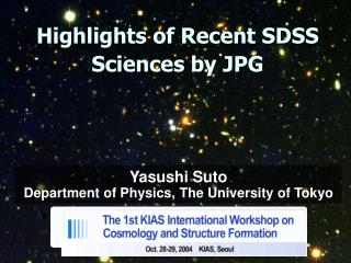Highlights of Recent SDSS Sciences by JPG
