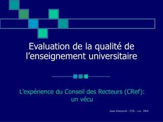 Evaluation de la qualité de l'enseignement universitaire