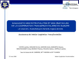 DIAGNOSTIC DES POTENTIALITES ET DES OBSTACLES  DE LA COOPERATION TRANSFRONTALIERE EN EUROPE