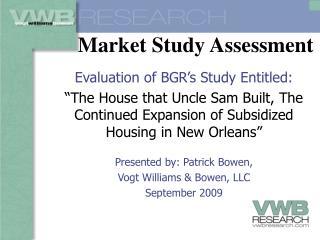 Market Study Assessment