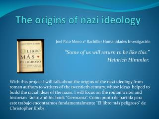 The origins  of nazi  ideology