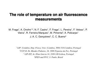 The role of temperature on air fluorescence measurements