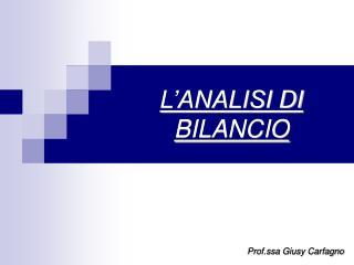 L'ANALISI DI BILANCIO