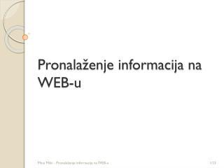 Pronala�enje informacija na WEB-u