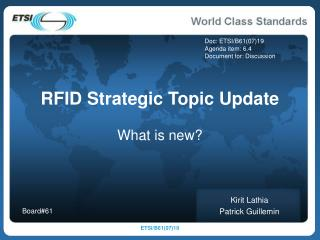 RFID Strategic Topic Update