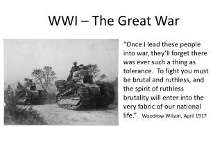 WWI – The Great War