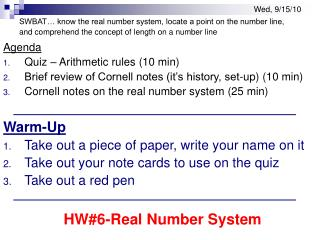 Agenda  Quiz – Arithmetic rules (10 min)