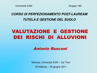 Università IUAV                                                      Gruppo 183