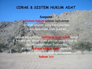 CORAK & SISTEM HUKUM ADAT