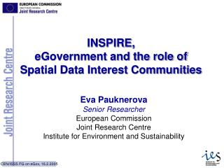 INSPIRE,  eGovernment and the role of  Spatial Data Interest Communities