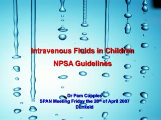 Intravenous Fluids in Children NPSA Guidelines