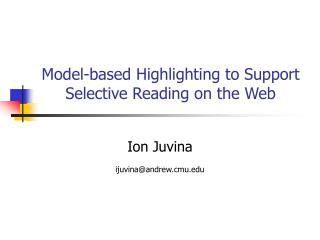 Model-based Highlighting to Support Selective Reading on the Web