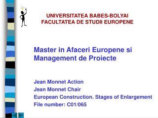 UNIVERSITATEA BABES-BOLYAI FACULTATEA DE STUDII EUROPENE