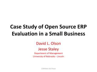 Case Study of Open Source ERP Evaluation in a Small Business