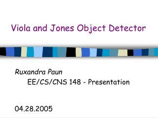 Viola and Jones Object Detector
