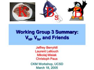 Working Group 3 Summary: V td , V ts , and Friends