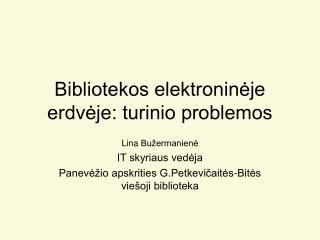 Bibliotekos elektroninėje erdvėje: turinio problemos