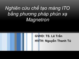 GVHD: TS. Lê Trấn HVTH: Nguyễn Thanh Tú