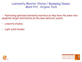 Luminosity Monitor Status / Beamplug Issues  Mark Pitt,  Virginia Tech