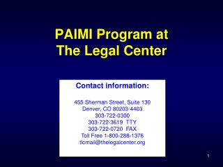 PAIMI Program at The Legal Center