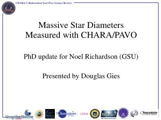 Massive Star Diameters  Measured with CHARA/PAVO