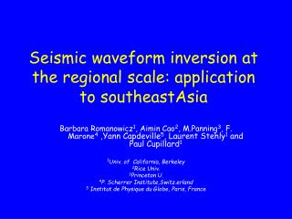 Seismic waveform inversion at the regional scale: application to southeastAsia