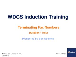 WDCS Induction Training