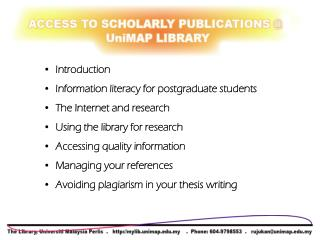 Introduction   Information literacy for postgraduate students   The Internet and research